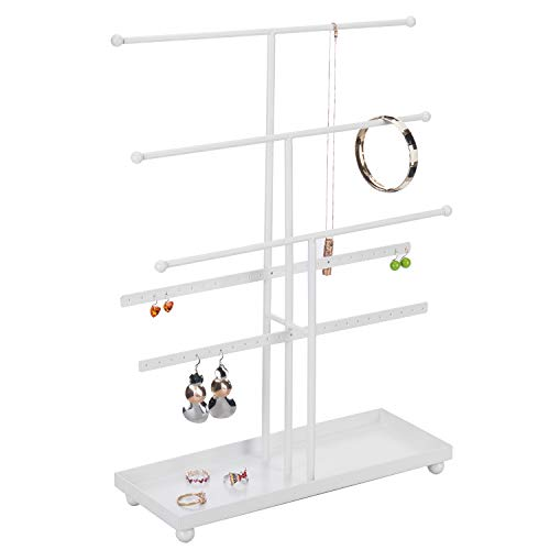 MyGift 5-Bar White Metal Tabletop Jewelry Organizer with Ring Tray