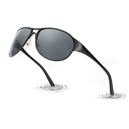 LVIOE Herren Polarisierte Sonnenbrille Groß Schwarz Metallrahmens für das Fahren Angeln Outdoor-Aktivitäten 100% UVA & UVB Schutz(Shwarz/Grau)