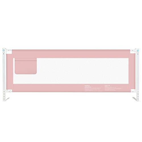 Sänggitter HUO barnsäng fallskydd säng sängskyddsnät utdragbar sängskyddsnät extra hög superpraktiskt nät är stabil (färg: Rosa, storlek: 120 cm)