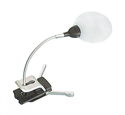 LINDNER Das Original Stand-/Klemmlupe mit LED-Beleuchtung, Vergrößerung 2,5X / 5X
