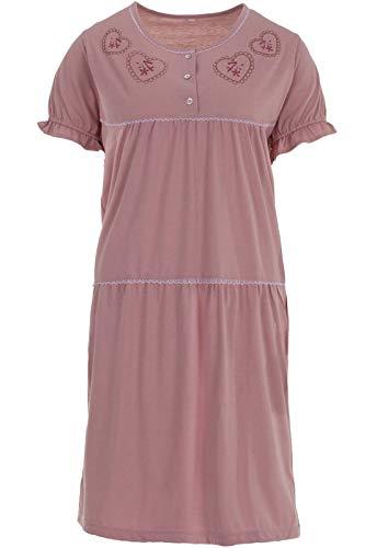 Zeitlos Nachthemd Herz Kurzarm Schlafshirt Spitze Rüsche, Größe:XL, Farbe:Altrosa