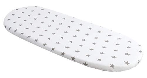 Sábana bajera ajustable para cochecito de bebé, 86 x 40 cm, 100% algodón, protector de colchón para bebé (estrellas grises con blanco)