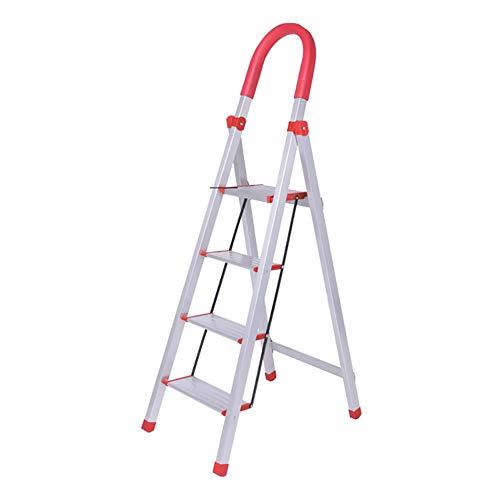 LRZLZY Aluminium Haushaltsleiter verdickt Vier oder fünf Stufenleiter Klapprolltreppe Treppe multifunktionale Indoor-Fischgrät-Trittleiter Stabilität und Sicherheit