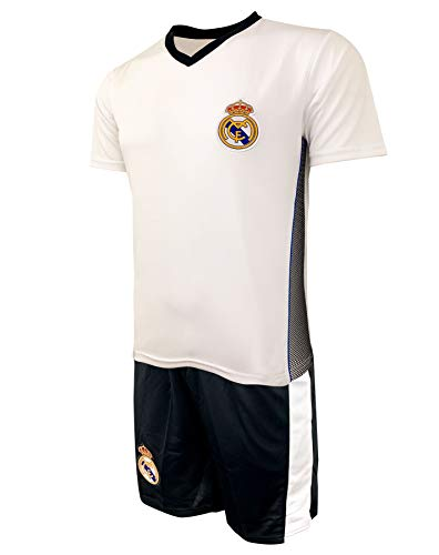 Real Madrid Training Jersey KIT for Adults and Kids, Jersey and Short, Licensed Real Madrid Set (X-Small (Youth X-Large 13-15 Years)) White