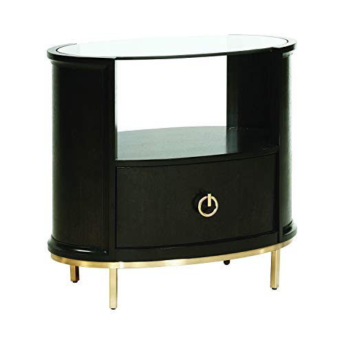 Coaster Home Furnishings Formosa 1-Drawer Oval Americano and Rose Brass Nightstand