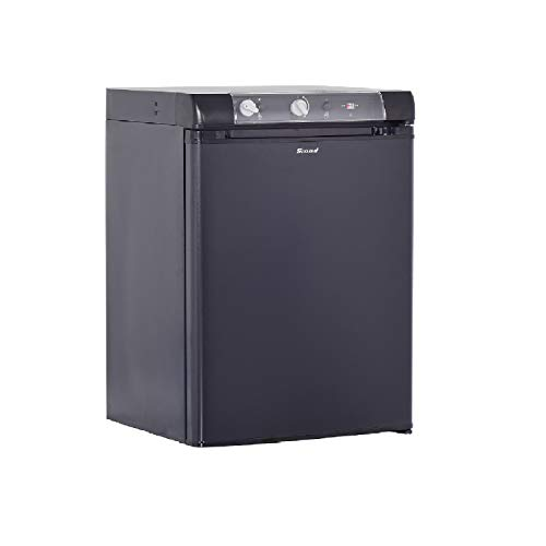 Smad Mini-Kühlschrank 60L, 12 V/220 V/Gas, Kompakter Kühlschrank für Camping, Wohnmobil, Caravan, Hotel, Energiesparfunktion, Schwarz