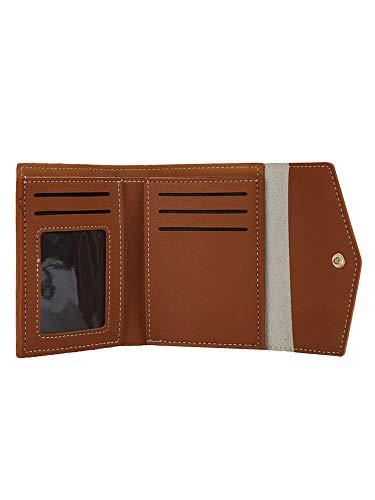 Godyluck- Monedero corto de mujer de moda Monedero de cuero de PU Color de contraste casual Titular de tarjeta de crédito de identificación de moda Monedero