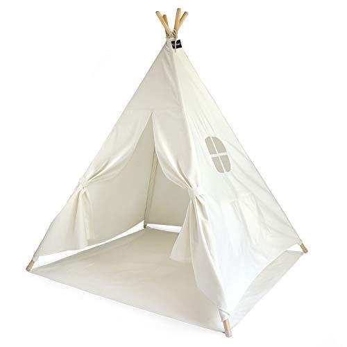 Hej Lønne 559 Kinder Tipi, weißes Zelt, Circa 120 x 120 x 150 cm groß, Spielzelt mit Bodendecke und Fenster, inklusiv Beutel und Anleitung, für drinnen und draußen, schadstofffrei