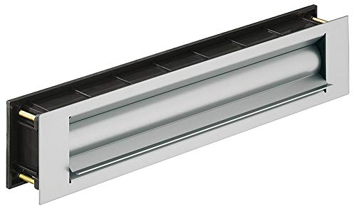 GedoTec®, brievenbusklep, warmte-isolatie, krantenklep voor huisdeuren & ingangsdeuren, inwerpklep, aluminium RVS-look, deurdikte 44-75 mm, bouwbeslag modern Edelstahl-Optik Edelstahl-finish