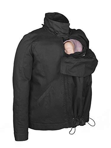 Momawo | Abrigo de Porteo y Maternidad 4 en 1 con Capucha Extraíble, Adaptable y Impermeable, Color Negro, L