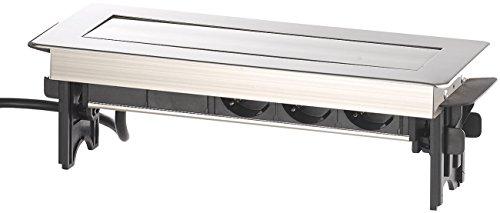 revolt Tischsteckdosen: Versenkbare Profi-Einbau-Tisch-Steckdose, 3-fach, 2x USB, Edelstahl (Schreibtisch Steckdose versenkbar)