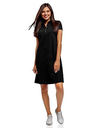 oodji Collection Femme Robe Polo en Tissu Piqué, Noir, FR 34 / XXS