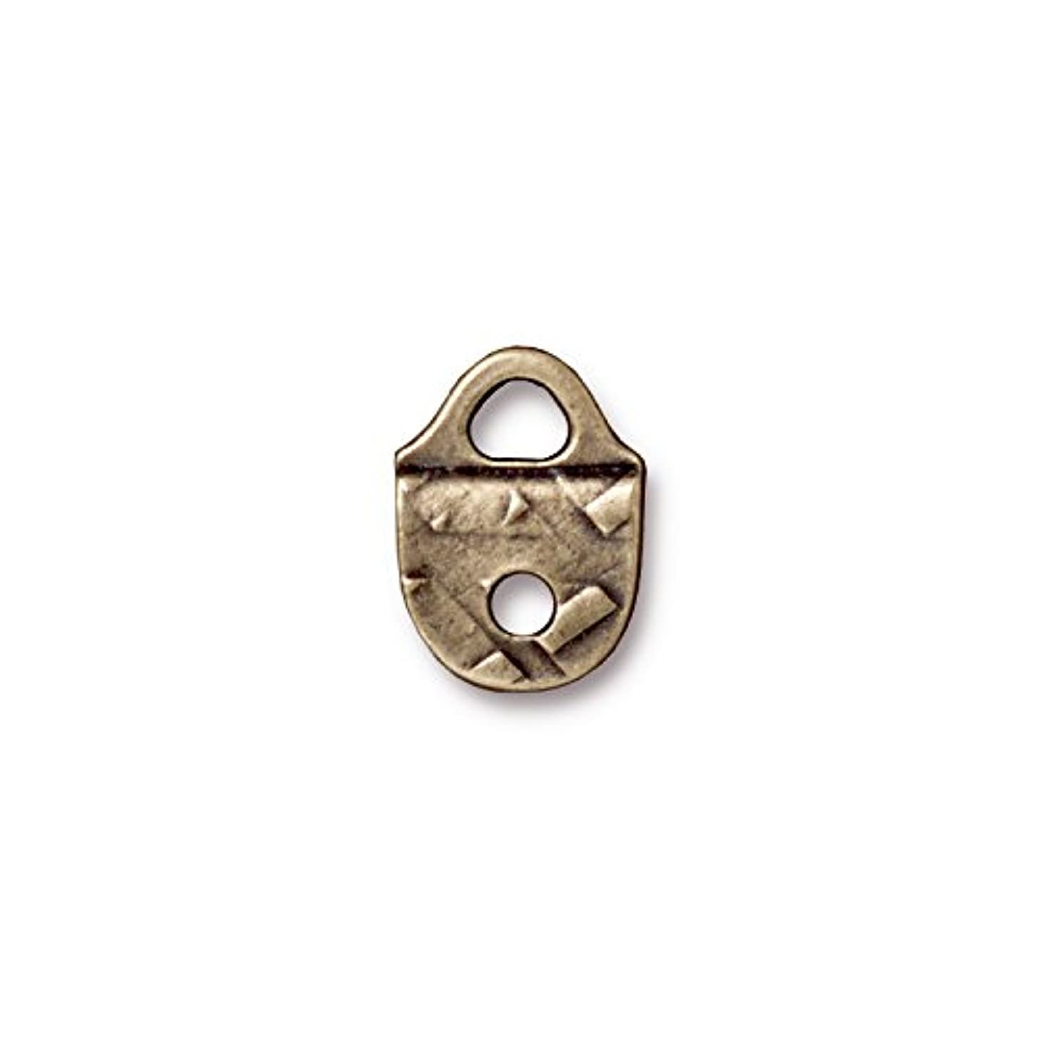 TierraCast End Link Rock and Roll, 12x16mm, Antique Brass Oxide Finish Pewter, 4-Pack
