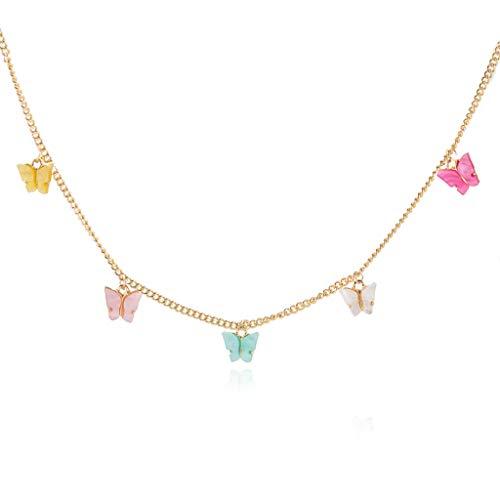 KJ-KUIJHFF Women Gold Color Metal Jewelry Necklace Earrings Butterfly Animal Acrylic Girls Party Gifts Jewelry