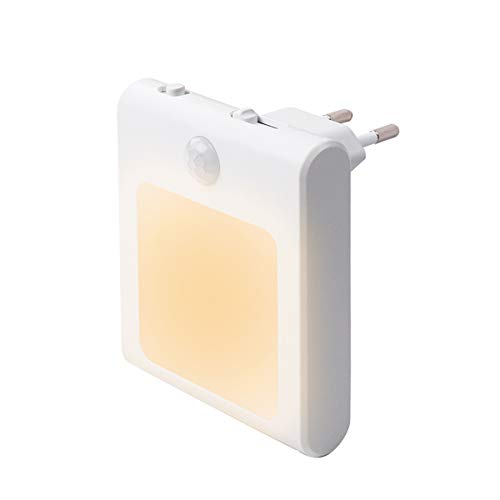 1 Stück LED Nachtlicht Steckdose mit Bewegungsmelder, Steckdosenlicht Helligkeit Stufenlos Einstellbar Orientierungslicht mit Auto, On, Off Schalter