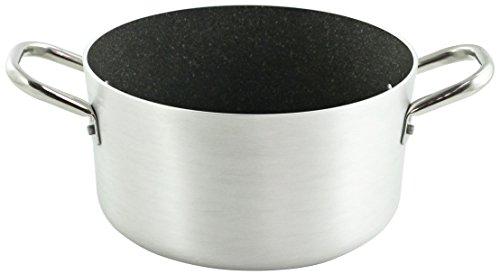 Ballarini Professionale Granite 2818.24 Casseruola Media con 2 Manici, Alluminio, Grigio, 24 cm