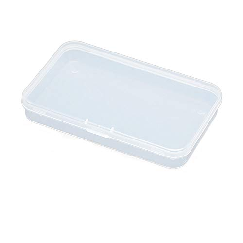 AKOAK Clear Polypropylene Rectangle Mini Storage Containers Box with Hinged Lid for Card,Accessories,Crafts,Learning Supplies,Screws,Drills,Battery,4.8' x 2.9' x 0.67',Pack of 4