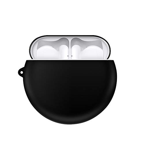 QULLOO Funda Silicona Compatible con Huawei FreeBuds 3,[admite carga inalámbrica][LED frontal visible] con mosquetón para Huawei FreeBuds 3 Case - Negro