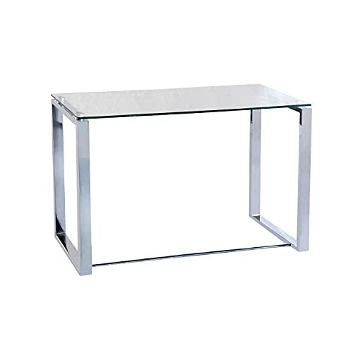 Benetto, Mesa de Cristal para Estudio, Escritorio, Despacho o Oficina, Acabado en Cristal y Cromo, Medidas: 100 cm (Largo) x 50 cm (Ancho) x 75 cm (Alto)