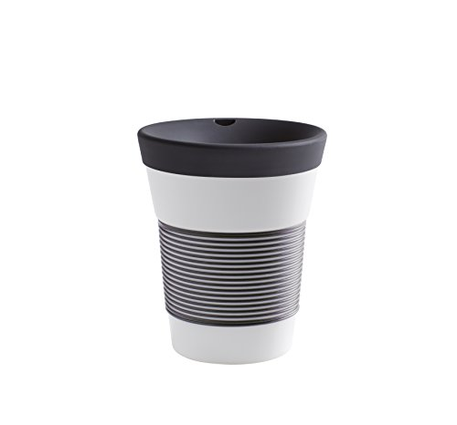 Kahla cupit Becher 0,35 l mit Trinkdeckel in anthrazit, Coffee to Go Mug aus Porzellan mit innovativer Magic Grip Beschichtung, Pro Öko, 10 x 6 x 13.2 cm