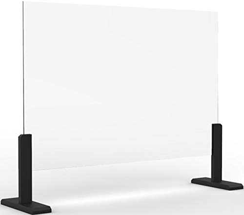 Desk Countertop Sneeze Guard - Premium Tempered Glass Shield Barrier for Office, Classroom, Reception, Counter - Adjustable Transaction Window - (36'X24')