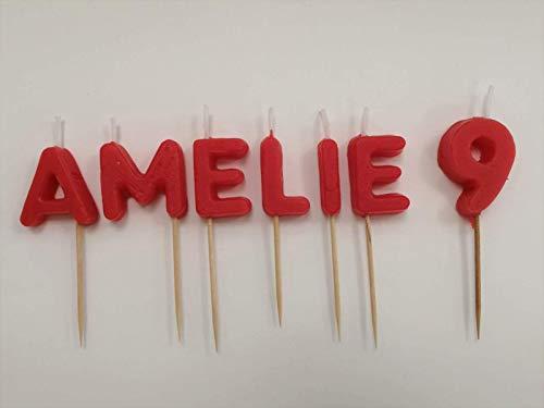 Bougies d'anniversaire personnalisées. Choisissez le prénom, le numéro et la couleur des bougies.