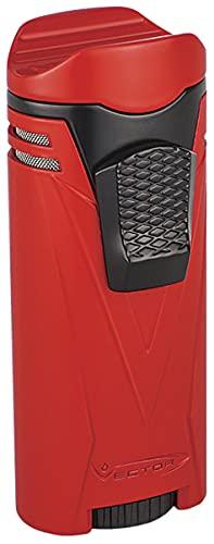 Vector Ironquad Wind Resistant Quad Flame Jet Torch Cigar Butane Lighter (Red Matte)