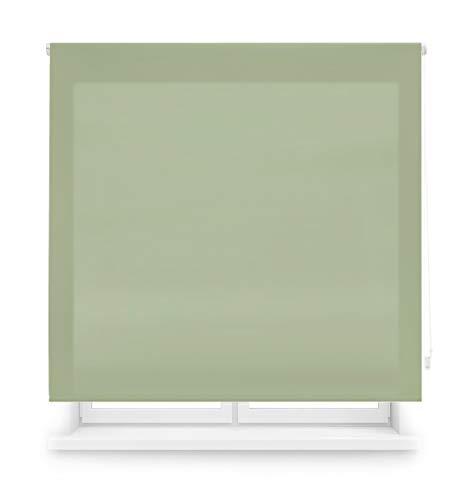 Blindecor Ara - Estor enrollable translúcido liso, Verde Pastel, 100 x 175 Cm (ancho x alto)