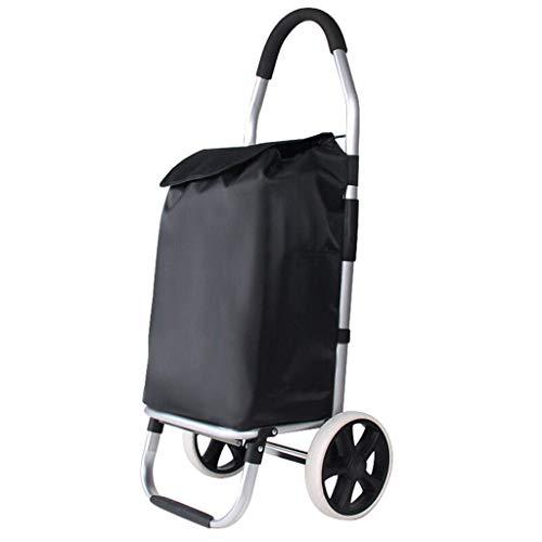 DJY-JY Moda Plegable de Aluminio de Compras Carro Portátil Carro (Color: Negro, tamaño: 33 * 28 * 100 cm)