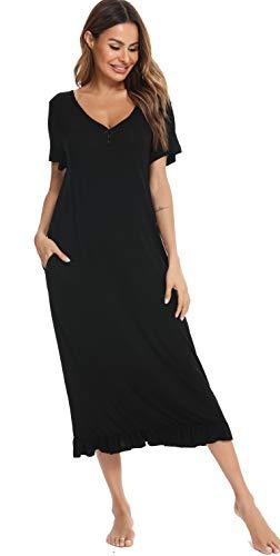 Vlazom Damen Nachthemd V-Ausschnitt Schlafhemd Langes Nachthemd Baumwolle Nachtwäsche Kurzarm Sommer Sleepshirt Sleepwear mit Taschen S-XXL