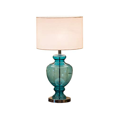 Lamparilla de noche Lámpara de mesa de vidrio, bellamente diseñado, cuerpo de lámpara de cristal transparente azul, pantalla de tela, altura de lámpara de mesa 69 cm × diámetro 37 cm Lámpara Mesilla