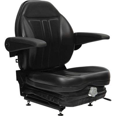 Black Talon Highback Suspension Seat with Folding Armrests - Black, Model Number 36O0OBK02UN
