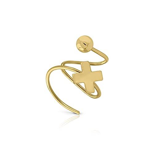 Piercing earcuff Oro de Ley Certificado. Diseño hilo redondo muelle con cruz y bola. Medida 11x12 mm. (4-5325)