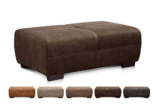 Cavadore Hocker Mavericco / Brauner Polsterhocker in Lederoptik / Industrial Style / Passend zu Big Sofa und Ecksofa Mavericco / 108 x 71 x 41 cm (BxHXT) / Mikrofaser Braun