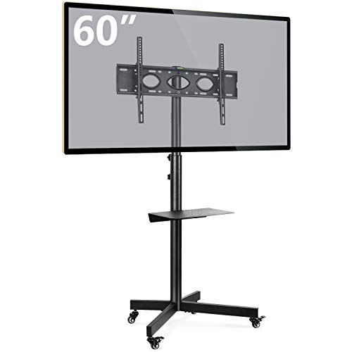 Rfiver Mobile TV Cart with Wheels Portable for 32-60 Inch LCD LED Plasma Flat Screen TVs Monitors up to 88lbs, Black Tall TV Floor Stand with AV Shelf, Tilt Mount Max VESA 600x400mm