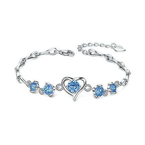 1 pulsera de corazón de cristal de plata de ley 925 para regalo del día de la madre