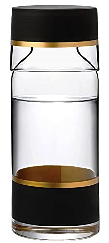 CEVVIZZ Bedside Water Carafe With Glass Set -Cup and Bottle to Keep Next To Your Bed for a Handy Midnight Drink - Glass Carafe 24 oz / Cup 7.5 oz - Beautiful Gift Box (GOLD ELEGANCE)