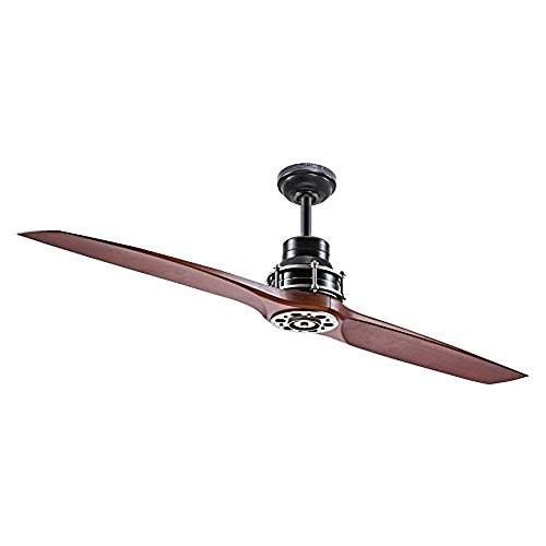 Kichler Lighting 56-in Satin Black with Antique Pewter Accents Downrod Mount Indoor Ceiling Fan with Remote (2-Blade)