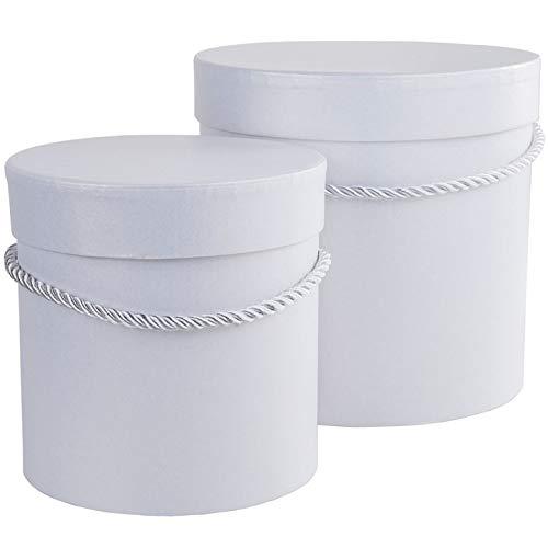 2er Set runde Blumenboxen in Weiß mit weißer Kordel, Aufbewahrungsbox mit Deckel, unifarbene Hutschachtel, weiße Geschenkboxen, personalisierbar