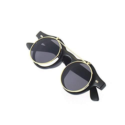 DAMAJIANGM Gafas de Sol clásicas Steampunk góticas, Gafas de Sol Redondas abatibles, Accesorios de Moda Retro Vintage, Tendencia de Moda, Gafas Redondas