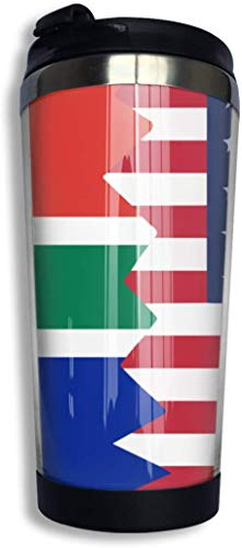 Garlincao South African USA Flag Kaffeetasse mit Deckel Perfekt für Tee & Kaffee Reise Kaffeetasse für Büro zu Hause, Reisen, Arbeit und Schule | Edelstahl 400 ml