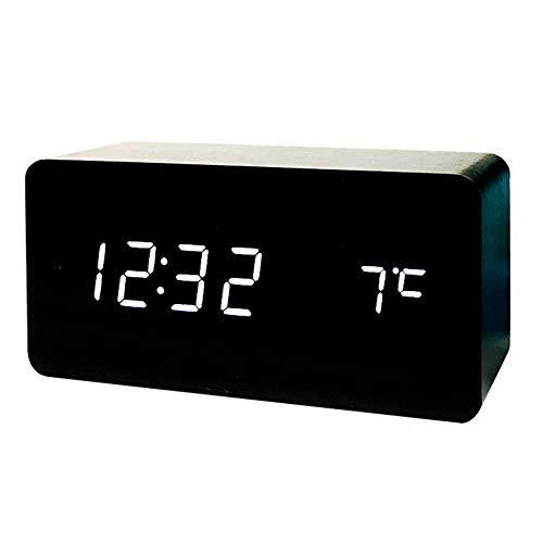Réveil Double Alimenté Pour La Maison Et Le Bureau LED Réveil Numérique Table De Chevet Réveil Avec Température Humidité Temps Affichage Son ( Couleur : Black wood white , Taille : 150mm*70mm*45mm )