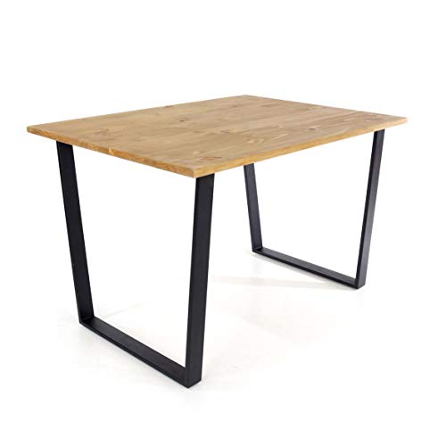 Home Source Antique Waxed Large Rectangular Dining Table Stylish, Pine, Black Metal Legs
