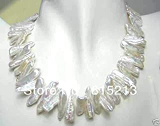 N114 Unique Abnormal Shape White Akoya Cultured Pearl Necklace N Discount New