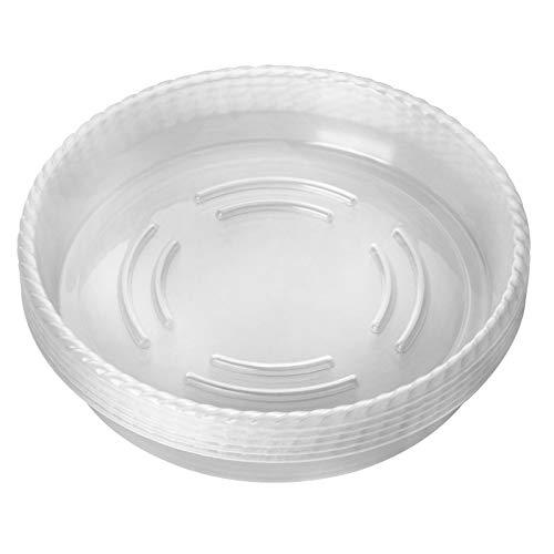 ANSUG 10pz Sottovaso Rotondo per Piante, sottovaso per Piante plastica, Sottovasi Trasparenti da Giardino Protezione per vasi da Fiori per Piante da Giardino da Interno ed Esterno (8 Pollici)