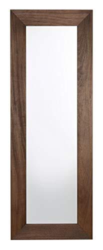 MO.WA Specchio Parete Lungo Legno Finitura Noce cm. 55x150 Cornice Legno da Appendere in Verticale e Orizzontale Made in Italy.