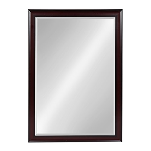 Kate and Laurel Scoop Framed Beveled Wall Mirror Cherry 28x40 -