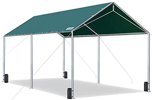 Quictent 10X20ft Upgraded Heavy Duty Carport Car Canopy Party Tent with 3 Reinforced Steel Cables-Green