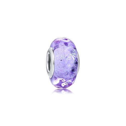 Women'S Gift 925 Sterling Silver Bead Wavy Lavender Murano Glass Charms Beads For Jewelry Making Fit Europe Bracelets Diy Accessories