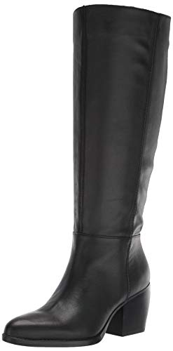 Naturalizer Women's FAE Shaft Knee High Boot, Black Leather Wide Calf, 9